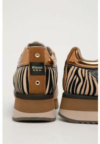 Brązowe buty sportowe Blauer z cholewką, na obcasie, na średnim obcasie