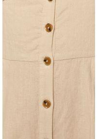 Kremowy kombinezon Pepe Jeans krótki, z krótkim rękawem, na co dzień, gładki