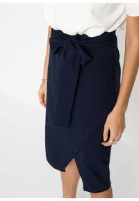 Sukienka bonprix biel wełny - ciemnoniebieski. Kolor: biały. Materiał: wełna. Styl: elegancki