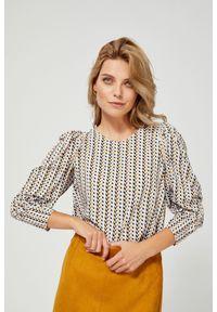 Koszula MOODO z długim rękawem, w geometryczne wzory, bez kołnierzyka, długa