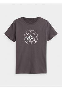 4f - T-shirt basic regular z nadrukiem damski. Kolor: wielokolorowy. Materiał: dzianina, bawełna, materiał. Wzór: nadruk. Sport: snowboard