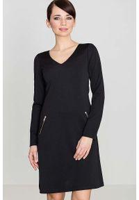 Czarna sukienka wizytowa Katrus elegancka