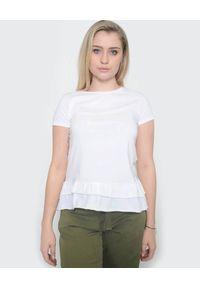 Deha - DEHA - Biała bluzka z falbanką. Kolor: biały. Materiał: bawełna, jeans. Wzór: aplikacja. Sezon: lato, wiosna. Styl: klasyczny