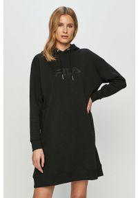 Czarna sukienka Fila mini, z kapturem, na co dzień, oversize
