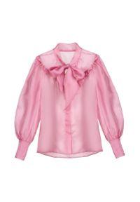 VICHER - Jedwabna koszula z kokardą LA ROSITA. Typ kołnierza: kokarda. Kolor: różowy, wielokolorowy, fioletowy. Materiał: jedwab