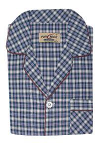 ForMax - Piżama w Kratkę Bawełniana Cienka, Dwuczęściowa, Koszula Długi Rękaw, Długie Spodnie FORMAX. Kolor: niebieski. Materiał: bawełna. Długość: długie. Wzór: kratka