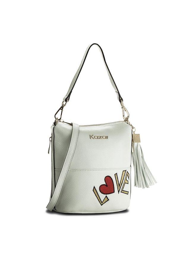 Biała torebka klasyczna Kazar na lato, z napisami, zdobiona