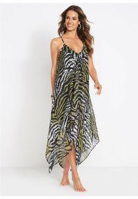 Sukienka plażowa bonprix zielono-oliwkowy zebra. Okazja: na plażę. Kolor: zielony. Wzór: motyw zwierzęcy