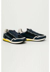 Niebieskie sneakersy Guess Jeans z okrągłym noskiem, na sznurówki