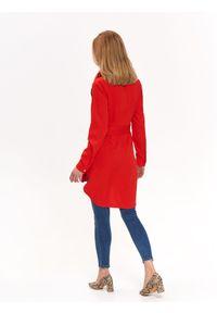 Czerwona koszula TOP SECRET w kolorowe wzory, długa, na wiosnę, casualowa