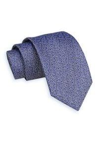 Casualowy, Dziergany Krawat Męski -5,5cm- wzór Paisley - Alties, Granatowy, Kolorowy. Okazja: na co dzień. Kolor: niebieski. Materiał: dziergany. Wzór: paisley. Styl: casual