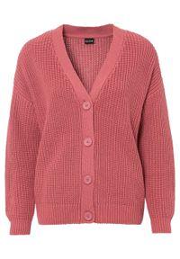 Sweter rozpinany oversize bonprix dymny malinowy. Kolor: różowy