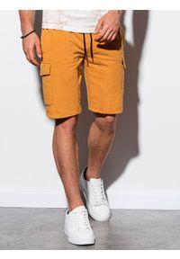 Żółte szorty Ombre Clothing krótkie, z aplikacjami #4