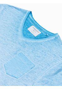 Ombre Clothing - T-shirt męski bawełniany S1388 - jasnoniebieski - XXL. Kolor: niebieski. Materiał: bawełna