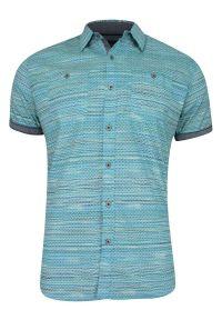 Niebieska koszula casual Just Yuppi na co dzień, krótka, z krótkim rękawem, w paski