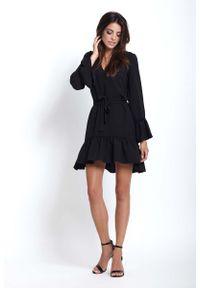 Czarna sukienka IVON z falbankami