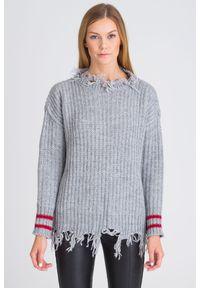 Szary sweter Pinko krótki, z długim rękawem, na spacer