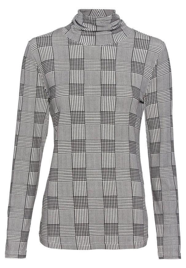 Czarna bluzka bonprix z długim rękawem, z nadrukiem