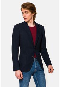 Lancerto - Marynarka Granatowa Sicilia. Typ kołnierza: golf. Kolor: niebieski. Materiał: jeans, wiskoza, dzianina, materiał, elastan, tkanina, poliester. Wzór: kolorowy. Styl: sportowy