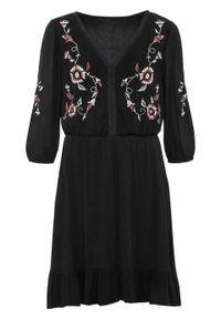 Sukienka tunikowa z haftem bonprix czarny. Kolor: czarny. Wzór: haft