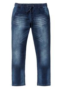 Dżinsy dresowe Slim Fit Straight bonprix ciemnoniebieski denim. Kolor: niebieski