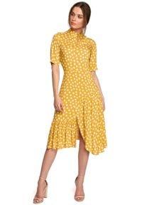 MOE - Sukienka w Grochy z Asymetryczną Falbanką - Żółta. Kolor: żółty. Materiał: wiskoza. Wzór: grochy. Typ sukienki: asymetryczne