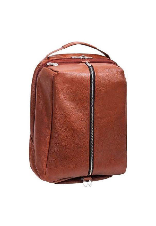 MCKLEIN - Skórzany plecak męski na laptopa McKlein South Shore brązowy. Kolor: brązowy. Materiał: skóra. Styl: biznesowy