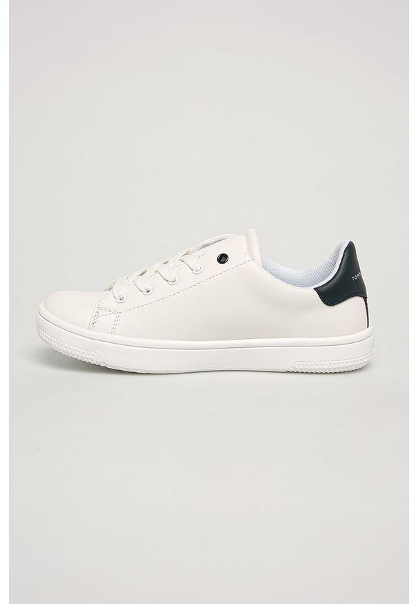 Białe buty sportowe TOMMY HILFIGER z cholewką, z okrągłym noskiem, na sznurówki