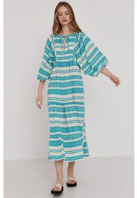 Answear Lab - Sukienka. Kolor: turkusowy. Materiał: tkanina. Typ sukienki: rozkloszowane. Styl: wakacyjny