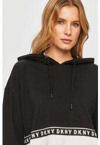 Czarna bluza DKNY z długim rękawem, długa, z kapturem