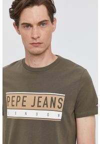 Pepe Jeans - T-shirt Jayo. Okazja: na co dzień. Kolor: zielony. Wzór: nadruk. Styl: casual