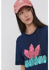 adidas Originals - Adidas Originals - T-shirt bawełniany. Okazja: na co dzień. Kolor: niebieski. Materiał: bawełna. Wzór: nadruk. Styl: casual