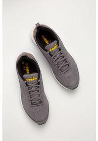 Szare buty sportowe Diadora z cholewką, na sznurówki, z okrągłym noskiem