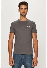EA7 Emporio Armani - T-shirt. Okazja: na co dzień. Kolor: szary. Materiał: dzianina. Styl: casual