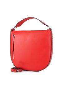 Czerwona torebka worek Wittchen z aplikacjami, zdobiona