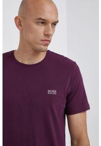 BOSS - Boss - T-shirt. Okazja: na co dzień. Kolor: fioletowy. Materiał: bawełna, dzianina. Wzór: gładki. Styl: casual