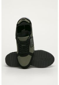 Zielone sneakersy Calvin Klein Jeans na sznurówki, z cholewką, z okrągłym noskiem