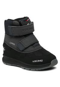 Viking - Śniegowce VIKING - Toby Gtx GORE-TEX 3-89300-277 Black/Charcoal. Okazja: na spacer. Kolor: czarny. Materiał: skóra, skóra ekologiczna, materiał. Szerokość cholewki: normalna. Sezon: zima, jesień