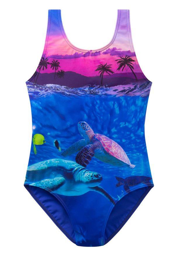 Kostium kąpielowy dziewczęcy bonprix lila z nadrukiem. Kolor: fioletowy. Wzór: nadruk