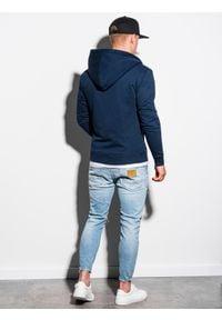 Ombre Clothing - Bluza męska rozpinana z kapturem B1223 - granatowa - XXL. Typ kołnierza: kaptur. Kolor: niebieski. Materiał: bawełna, poliester