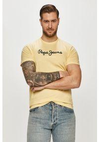 Żółty t-shirt Pepe Jeans casualowy, na co dzień, z nadrukiem #5
