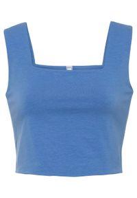 Niebieski top bonprix z dekoltem karo, na ramiączkach