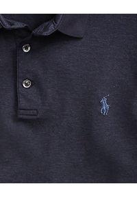 Ralph Lauren - RALPH LAUREN - Koszulka Custom Slim Fit. Typ kołnierza: polo. Kolor: niebieski. Materiał: bawełna. Wzór: haft. Styl: klasyczny