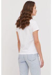 Biała bluzka Guess casualowa, z nadrukiem