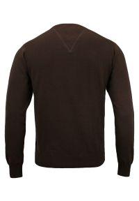 Brązowy sweter Adriano Guinari biznesowy, z dekoltem w serek