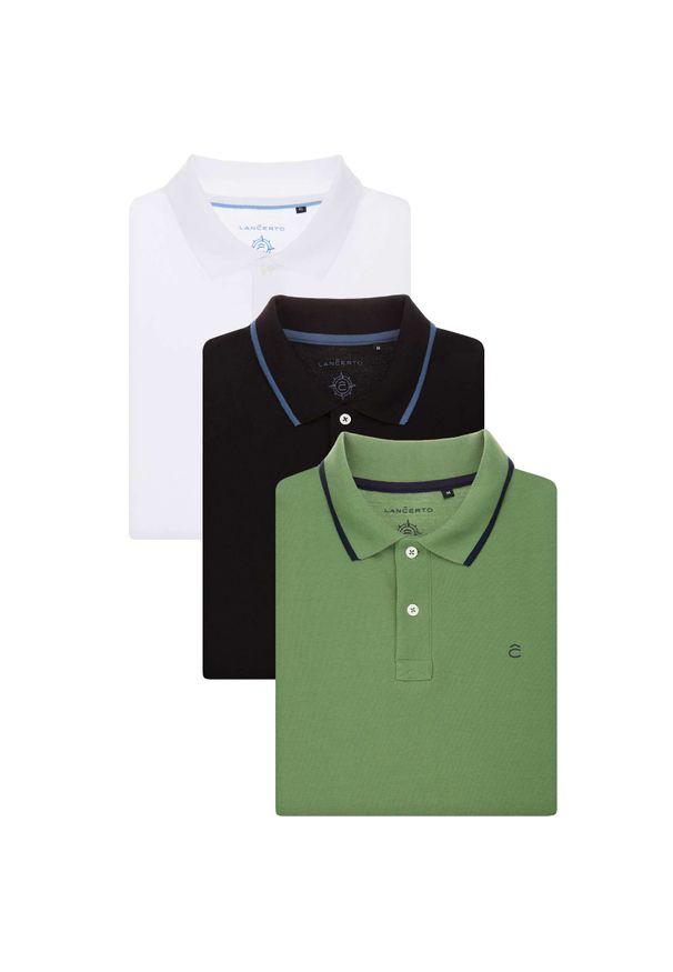 Lancerto - Zestaw 3 Koszulek Polo. Typ kołnierza: polo. Materiał: bawełna, tkanina. Wzór: ze splotem. Styl: elegancki