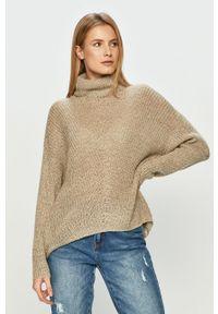 Szary sweter Jacqueline de Yong długi, na co dzień, z długim rękawem, casualowy