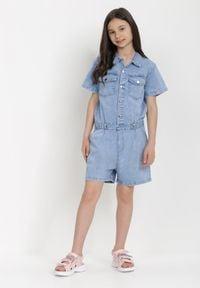 Born2be - Niebieski Kombinezon Pethanthei. Kolor: niebieski. Materiał: jeans. Długość rękawa: krótki rękaw. Sezon: lato. Styl: klasyczny
