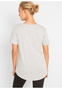 T-shirt z aplikacją bonprix jasnoszary melanż - zielony oceaniczny leo. Kolor: szary. Wzór: aplikacja, melanż #6