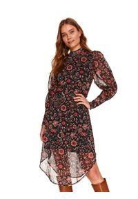 TOP SECRET - Tiulowa sukienka z asymetrycznym dołem. Kolor: czarny. Materiał: tiul. Typ sukienki: asymetryczne